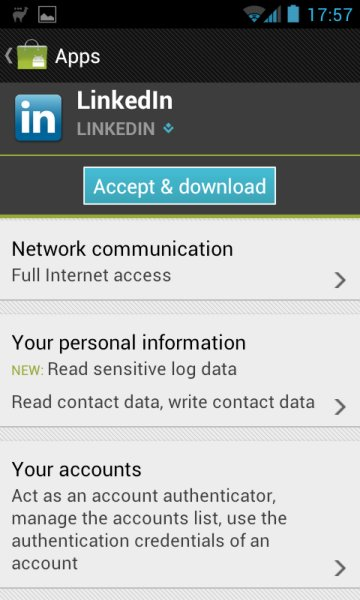 "LinkedIn Android ""bug fix"" update includes invasive"
