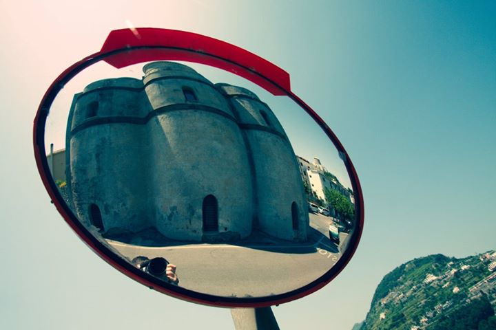 Roadside mirror in Amalfi, Italy