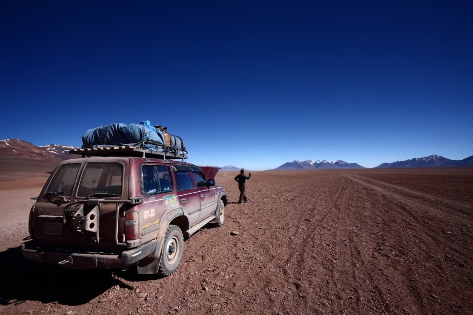 Stuck in the desert near Uyuni, Bolivia