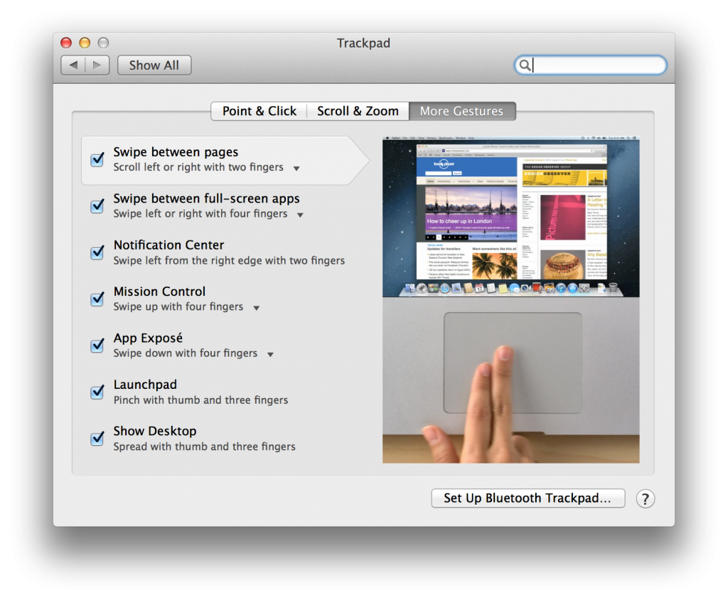 Macbook Touchpad Gestures