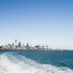 Looking back to Auckland city on the way to Waiheke Island.