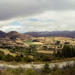 Looking back from the top of the road leading up Crown Range to Wanaka