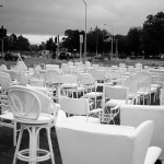 One chair for each victim of the quake. Many of them died in the collapse of the CTV building, which once stood in the empty lot diagonally opposite. The site is being made into a memorial.